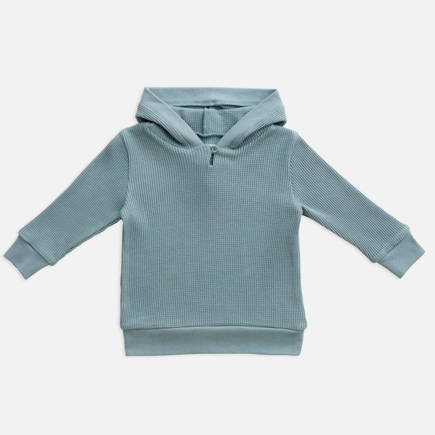 US stockist of Miann & Co's gender neutral slate baby waffle hooded sweatshirt.  Made from 100% waffle cotton.