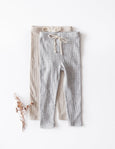 Waffle Cotton Leggings - Grey Marle