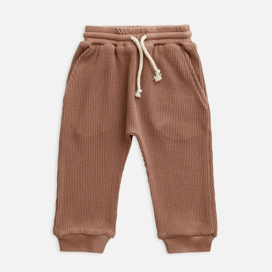 US stockist of Miann & Co's butterscotch waffle pants.  Made from 100% waffle cotton with slight drop crotch and functional drawstring with elastic waist.