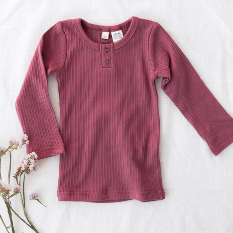US stockist of Karibou Kids garden rose pink Willow ribbed long sleeve top