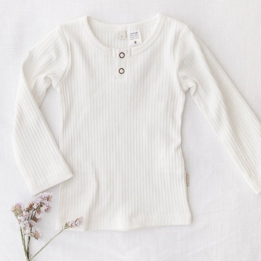 US stockist of Karibou Kids warm white Willow long sleeve top