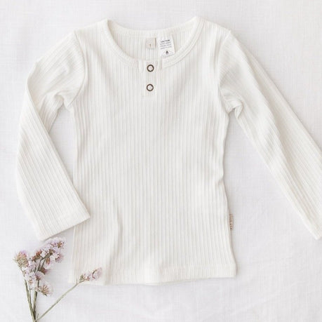 US stockist of Karibou Kids gender neutral, warm white Willow ribbed long sleeve top