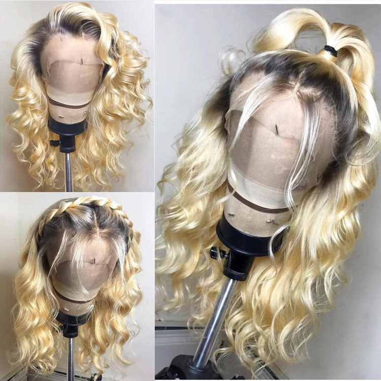 "130% Density 1B (Natural Color)/613 (Platinum Blonde) Lace Frontal Wigs 12""-28"""