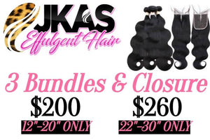 3 Bundles And Closure Special - JKAs Effulgent Hair LLC