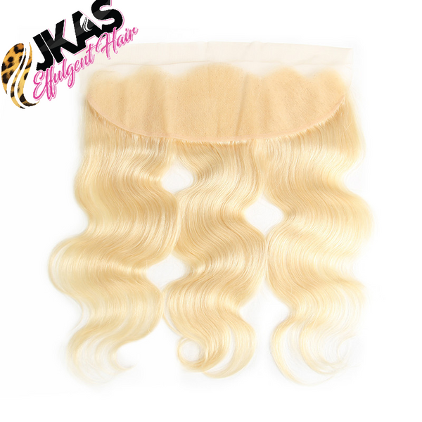"JKAs Effulgent Hair Platinum Blonde Bodywave Human Hair 13""x4"" Lace Frontal"