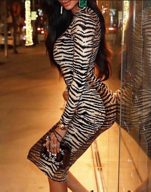 Fitted Tiger Print Body-con Dress - JKAs Effulgent Hair