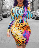 Short Multi-Colored Bodycon Dress - JKAs Effulgent Hair