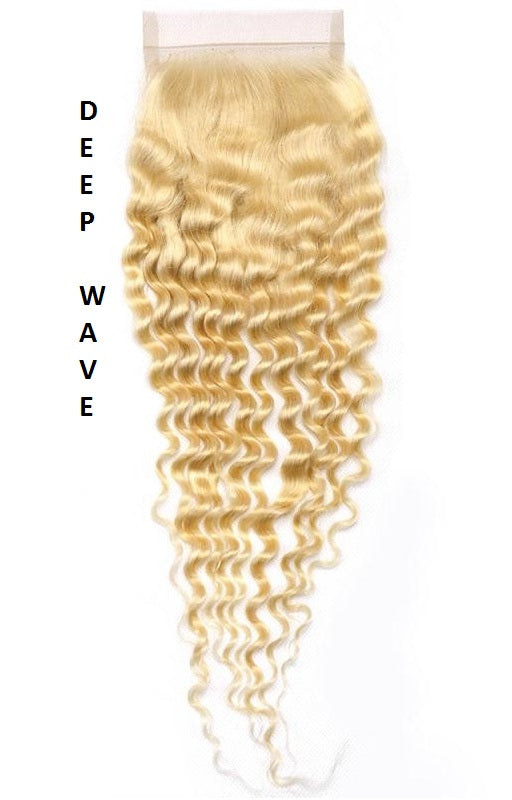 613 Blonde| Deep Wave| Loose Deep Wave| 4x4 | 100% UNPROCESSED HUMAN HAIR BLEACHED KNOT LACE CLOSURES