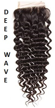 Blue| Deep Wave| Loose Deep Wave| 4x4 | 100% UNPROCESSED HUMAN HAIR BLEACHED KNOT LACE CLOSURES