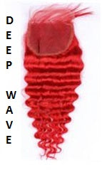 Red| Deep Wave| Loose Deep Wave| 4x4 | 100% UNPROCESSED HUMAN HAIR BLEACHED KNOT LACE CLOSURES