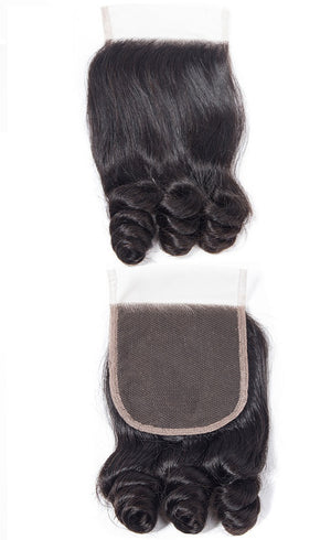 Funmi Curl| 4x4 | 100% UNPROCESSED HUMAN HAIR BLEACHED KNOT LACE CLOSURES - JKAs Effulgent Hair LLC