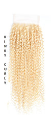 613 Blonde| Kinky Straight| Kinky Curly| 4x4 | 100% UNPROCESSED HUMAN HAIR BLEACHED KNOT LACE CLOSURES - JKAs Effulgent Hair LLC