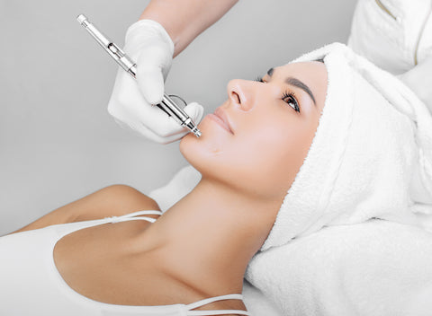 If you have dry skin, one of the solutions is to get an Oxygen Facial; this photo is of a woman getting a facial at the spa