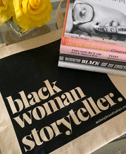 "Load image into Gallery viewer, ""black woman storyteller""™ Tote bag"