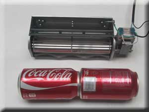2 soda cans taped together can be used to test fit universal fireplace blower