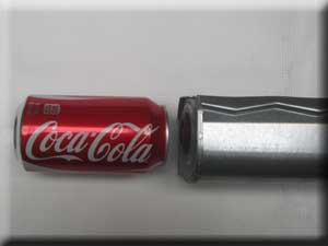 soda can is the same size as the blower
