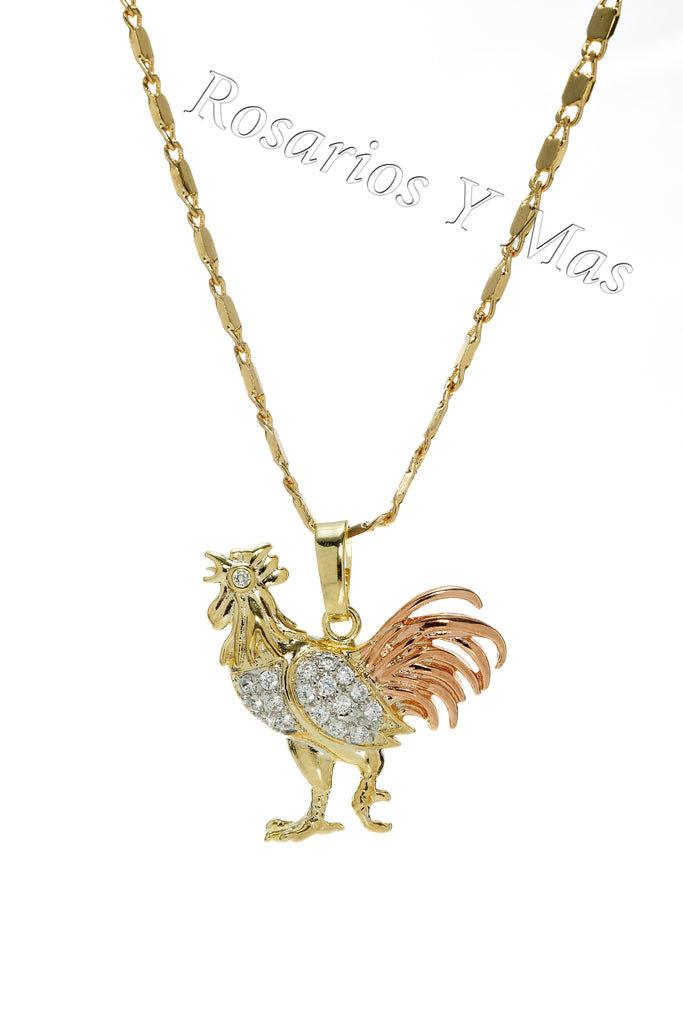 f6dcfb504fbb 24K Gold Filled Rooster Pendant with Necklace - Gallo Medalla Oro Laminado  con Cadena