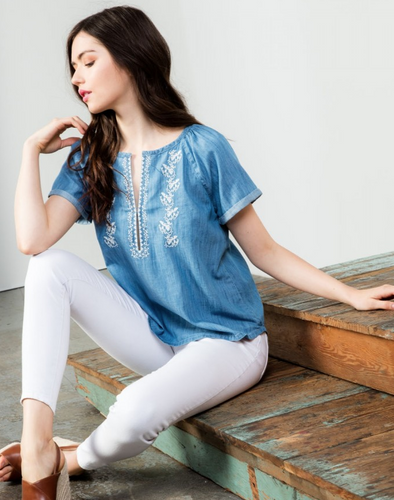 THML Bonnie Denim Top with Embroidery Detail