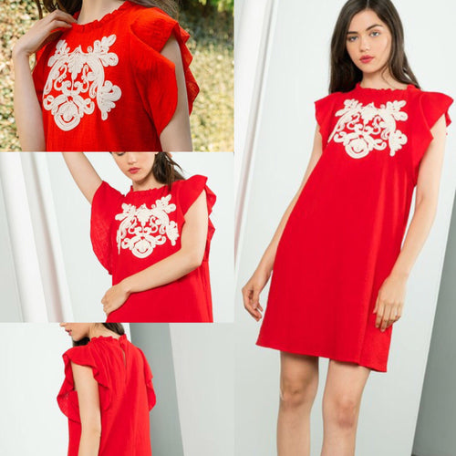 Cabana Red Dress with Ribbon Detail
