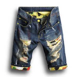 Summer men's hole denim shorts - gucchol