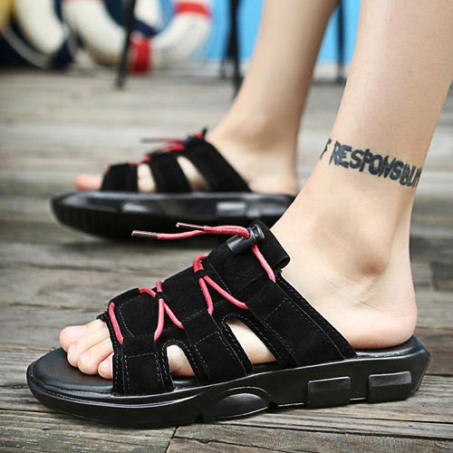 Male summer casual sandals large size beach flip flops personalized fashion sandals - gucchol