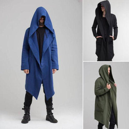 Mens Casual Solid Color Irregular Hem Hooded Cloak