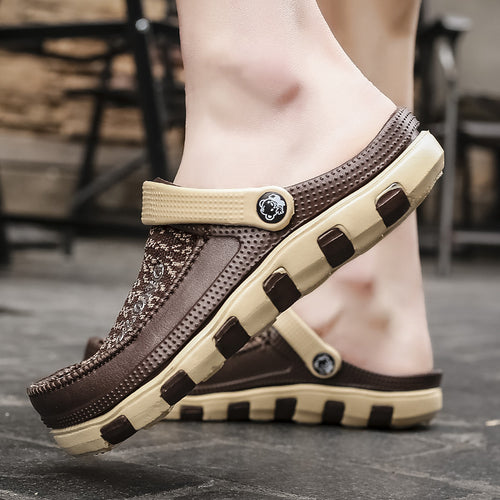Summer new breathable flying woven men's sandals and slippers - gucchol