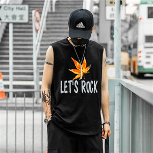 Loose Maple Print Sleeveless T-Shirt - gucchol