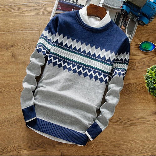 2019 Brand New Sweaters Men Fashion Style Patchwork Knitted Quality Pullover Sweater - gucchol