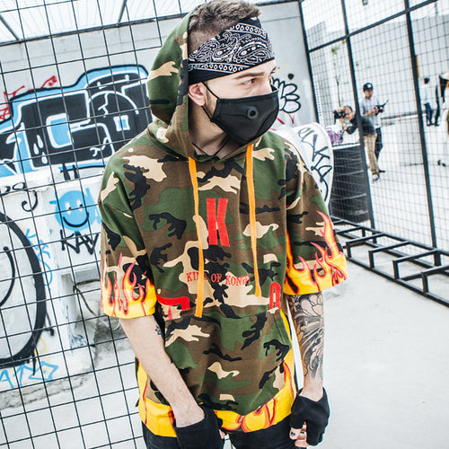 Flame Print Hooded T-Shirt - gucchol
