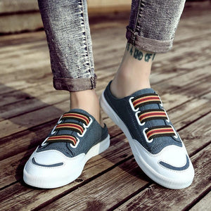 2019 new men's fashion casual half-drag canvas shoes breathable shoes - gucchol