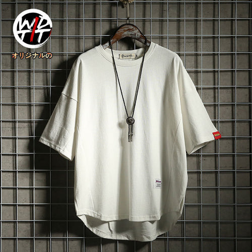 Summer Japanese solid color loose oversize cotton T-shirt