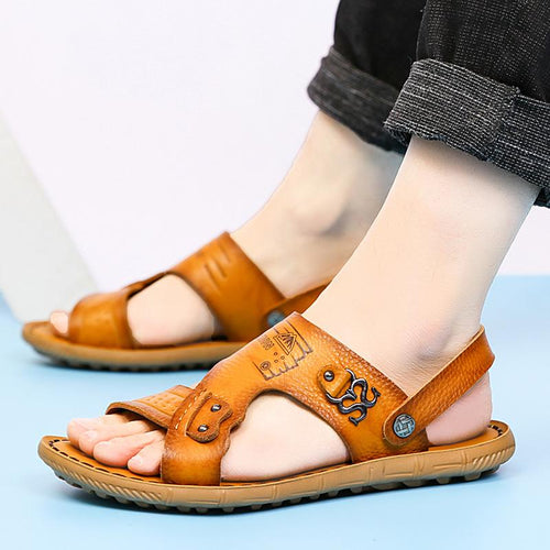 2019 new summer leather sandals men's breathable sandals - gucchol