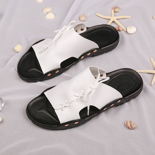 Summer new men's sandals and slippers trend artificial PU slippers - gucchol