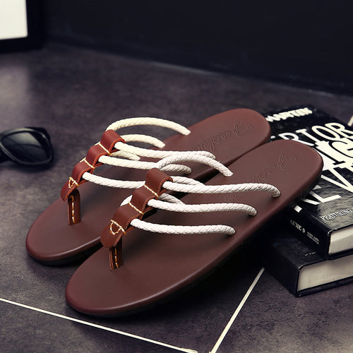 Men's beach sandals summer outdoor skid flip flops - gucchol