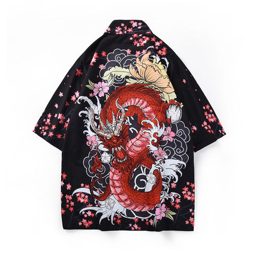 2019 summer ins flower shirt men's cardigan thin T-shirt - gucchol