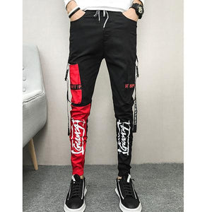 New casual pants men's stretch slim feet pants - gucchol