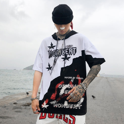 Asymmetrical color matching hooded T-shirt hip hop thin hoodie - gucchol