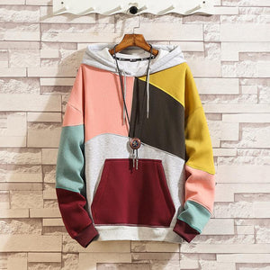 Men's stitching padded hooded contrast sweater - gucchol