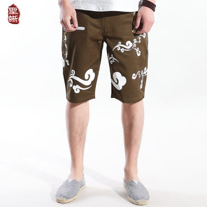 Chinese style casual pants cotton Xiangyun crane embroidery shorts - gucchol