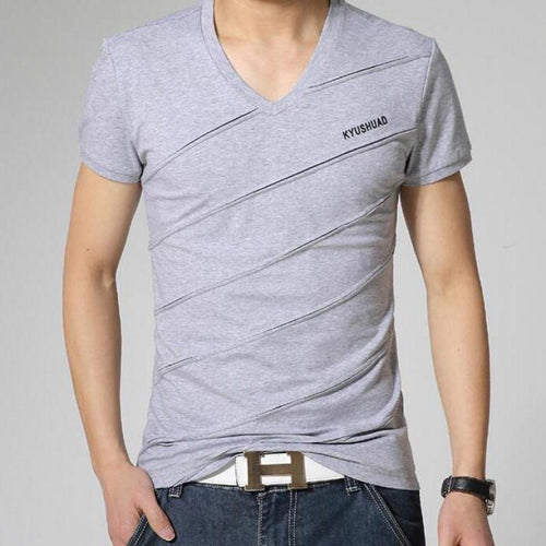 Solid color V-neck slim bottoming shirt summer cotton T-shirt