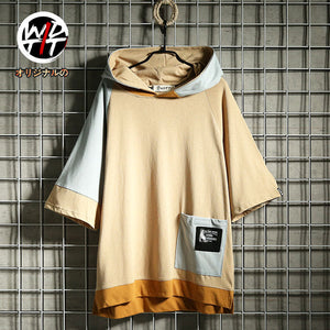 Summer Japanese style brand wide Korean version of color matching hooded T-shirt