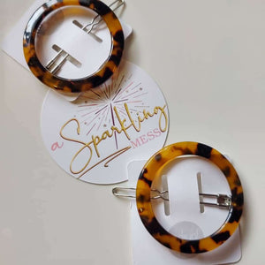 Hair Barrette - Tortoise Shell Circle