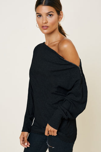 Boatneck Zip Top