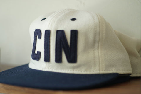 Queen City Ebbets Field Cream & Navy Snapback Hat