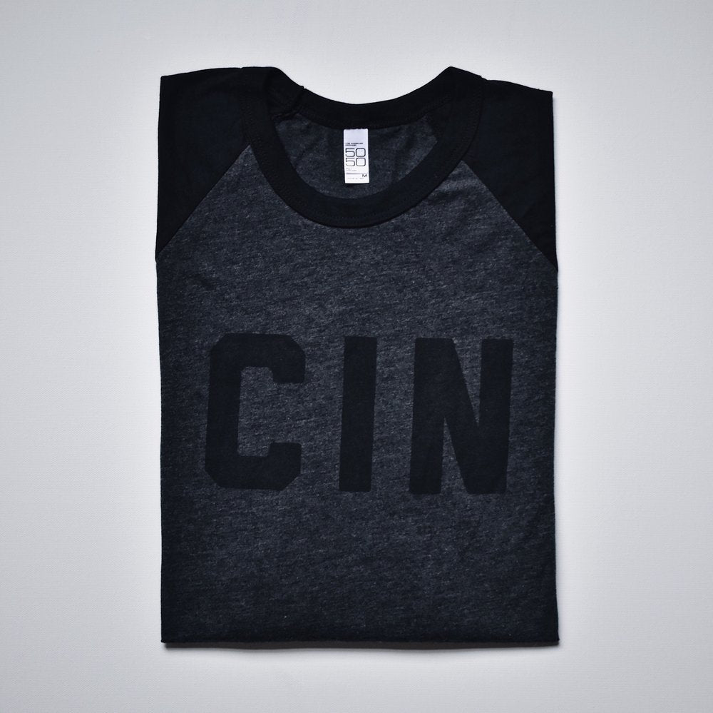 Queen City Black on Black Raglan Tee