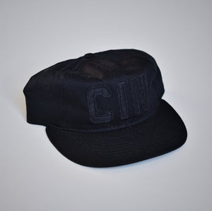 Queen City Ebbets Field Black on Black Snapback Hat