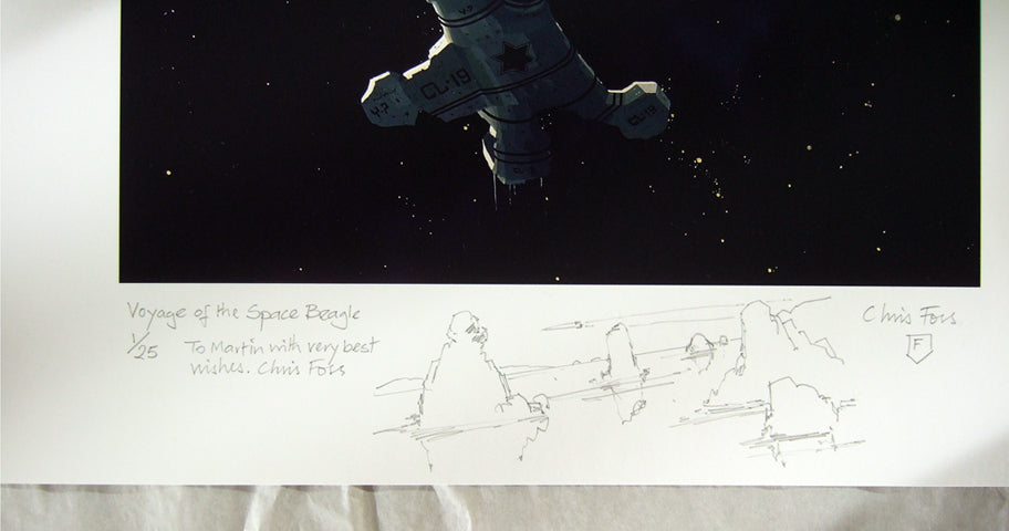 Bottom of Voyage of the Space Beagle print with sketch