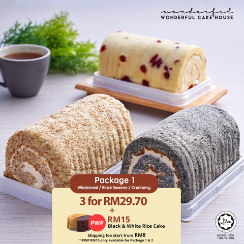 Swiss Roll Bundle [Wholemeal + Black Sesame + Cranberry]