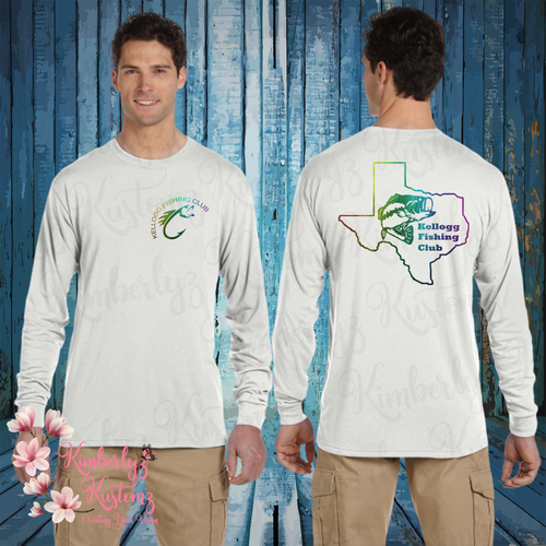 JERZEES DRI-POWER® SPORT Long-Sleeve T-Shirt with Kellogg Fishing Club Logo